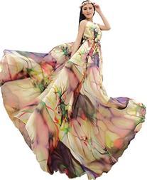 Medeshe Women's Chiffon Floral Holiday Beach Bridesmaid Maxi