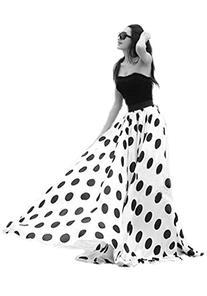 Women's Fashion Chiffon Polka Dot Print High-waist Summer