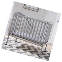 Delta Children Portable Folding Crib with Mattress - Grey