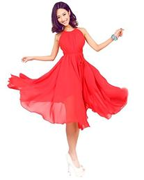 Medeshe Women's Chinese Red Short Chiffon Summer Sundress