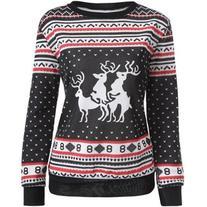 Christmas Deer Print Pullover Sweatshirt