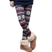 UZZO Women Girl Warmer Legging Soft Knit Snowflake Print