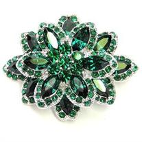 Faship Chunky Floral Green Pin Brooch Pendant Vintage Style