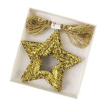 Chunky Glitter Stars Mini Garland - 14 ft/ 42 Gold Stars
