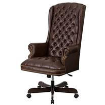 High-Back Traditional Tufted Brown Leather Executive Swivel