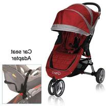 Baby Jogger City Mini Stroller in Crimson with Car Seat