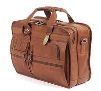 """Claire Chase 8"""" Depth Leather Laptop Briefcase Bag in Brown"""