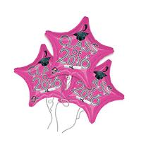 Class of 2016 Star Shaped Pink Mylar Balloon - 3 Pack