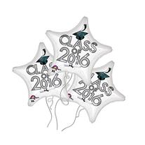Class of 2016 Star Shaped White Mylar Balloon - 3 Pack