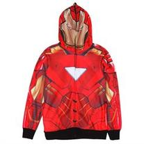 Iron Man - Classic Mask All Over Costume Zip Hoodie - Medium