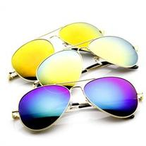 Classic Metal Teardrop Color Mirror Lens Aviator Sunglasses