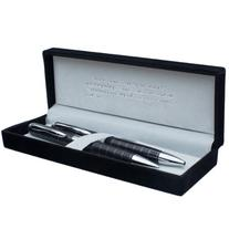 Classic Pen & Pencil Set - Black w/Silver Inlays & Etched