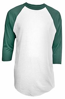 Soffe Mens Classic Raglan 3/4 Sleeve T-Shirt Large White/Dk