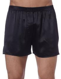Intimo Men's Classic Silk Boxers, Black, Large