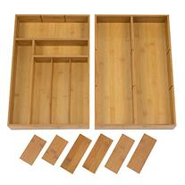 Seville Classics 2 Pack Bamboo Drawer Organizer