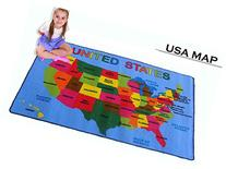 Large Classroom and Nursery Rug for Kids USA MAP Area Rug