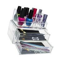 Pro Clear Acrylic Counter / Dresser Top 2 Drawers Cosmetics
