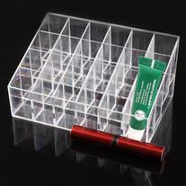 UZZO Clear Acrylic Trapezoid 24 Lattices Lipsticks Cosmetic