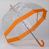 Clear Bubble Umbrellas Orange Trim