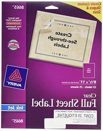 Avery Clear Full-Sheet Labels, Inkjet Printers, 8.5 x 11