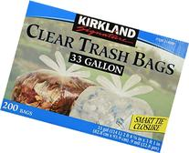 Kirkland Signature Clear Trash Bags with Smart Closure, 33