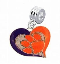 Clemson Tigers Swirl Heart Charm with Connector - Universal