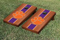 Clemson Tigers Cornhole Game Set Rosewood Stained Stripe