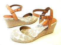 Coach Valerie Womens Textile Wedge Sandals, Tan, Size 9.5