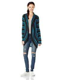Derek Heart Junior's Cocoon Striped Open Cardigan Sweater,