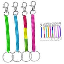 4pc Coil Cord Stretch Tether Keychain Ring - Bright