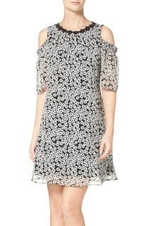 Women's Taylor Dresses Cold Shoulder Chiffon Dress, Size 8