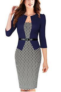 Viwenn Women Elegant Colorblock Long Sleeve V Neck Business