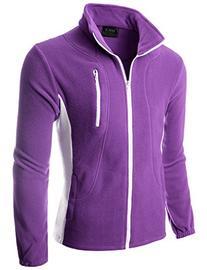 Doublju Mens Colorblock Long Sleeve Full-Zip Lightweight