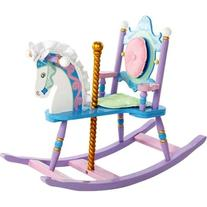 Colorful Kid's Carousel Rocking Horse w Silky Mane