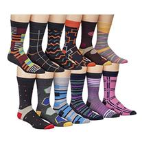 James Fiallo Mens 12 Pack Colorful Patterned Dress Socks