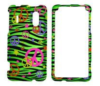 Colorful Peace Sign on Green Zebra Rubberized Snap on