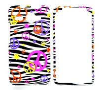 Colorful Peace Sign on Zebra Strips Rubberized Snap on Hard