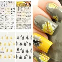 MBox Colorful Peacock Feather Nail Art Tips Nail Decal