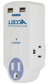 Accell D080B-010K 3-Outlet Travel Surge Protector with Dual