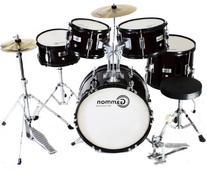 Complete 5-Piece Black Junior Drum Set with Cymbals Stands