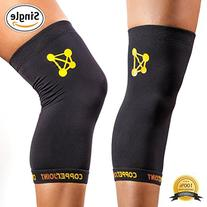 CopperJoint Copper Knee Brace, 1 Compression Fit Support - Guaranteed Recovery Sleeve - Wear Anywhere
