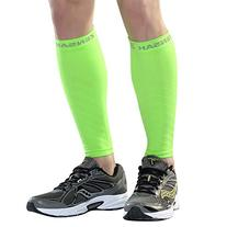 Zensah Compression Leg Sleeves, Neon Green, Small/Medium
