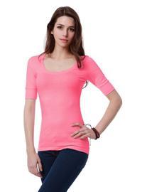 Doublju Womens Comfortable Half Sleeve Crew Neck Easy Wear T