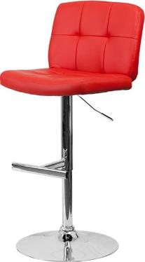 Contemporary Vinyl Adjustable Height Barstool with Wide Seat
