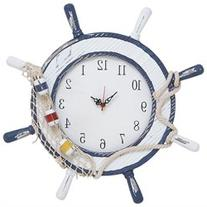 Contemporary Wooden Steering Wheel Clock with Intricate