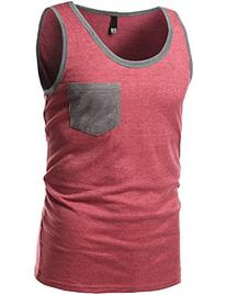 Contrast Colorblock Round Neck Tank Tops Red Gray Size XS