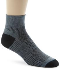 Wrightsock Men's Coolmesh II Quarter Single Socks, Grey,