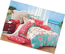 Cliab Coral Bedding for Teen Girls Green Flower Full Duvet