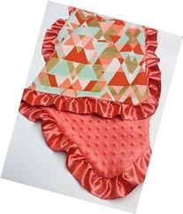 Coral gold and mint baby blanket modern crib bedding minky