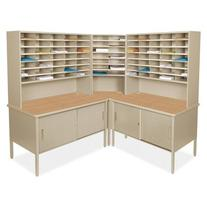 Mailroom 84 Slot Corner Literature Organizer with Cabinet